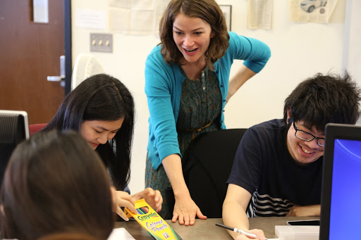 Dr. Jennifer Herman in the classroom with students